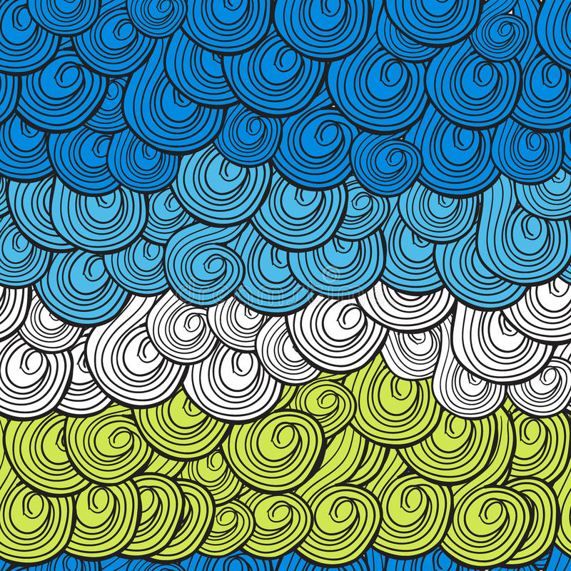 Abstract multi-colored golvenpatroon met wervelingen stock illustratie