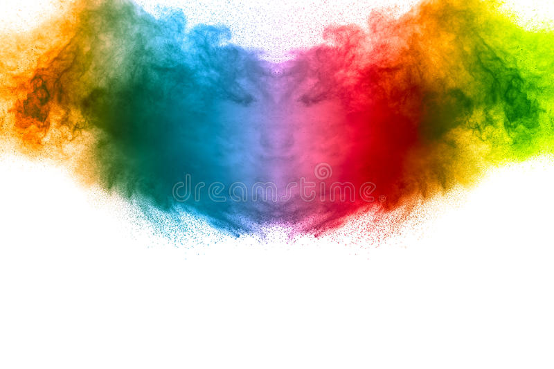 Abstract multi colored powder explosion royalty free stock images