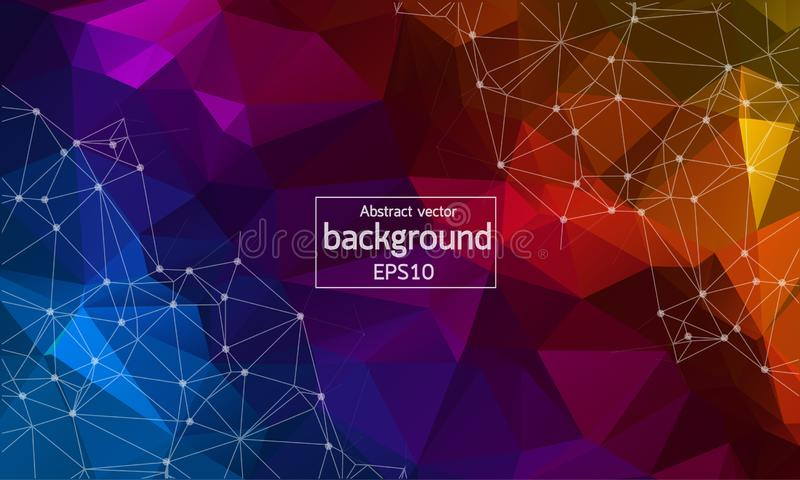 Abstract multicolor Geometric Polygonal background molecule and communication. Connected lines with dots. Concept of the science, stock illustration