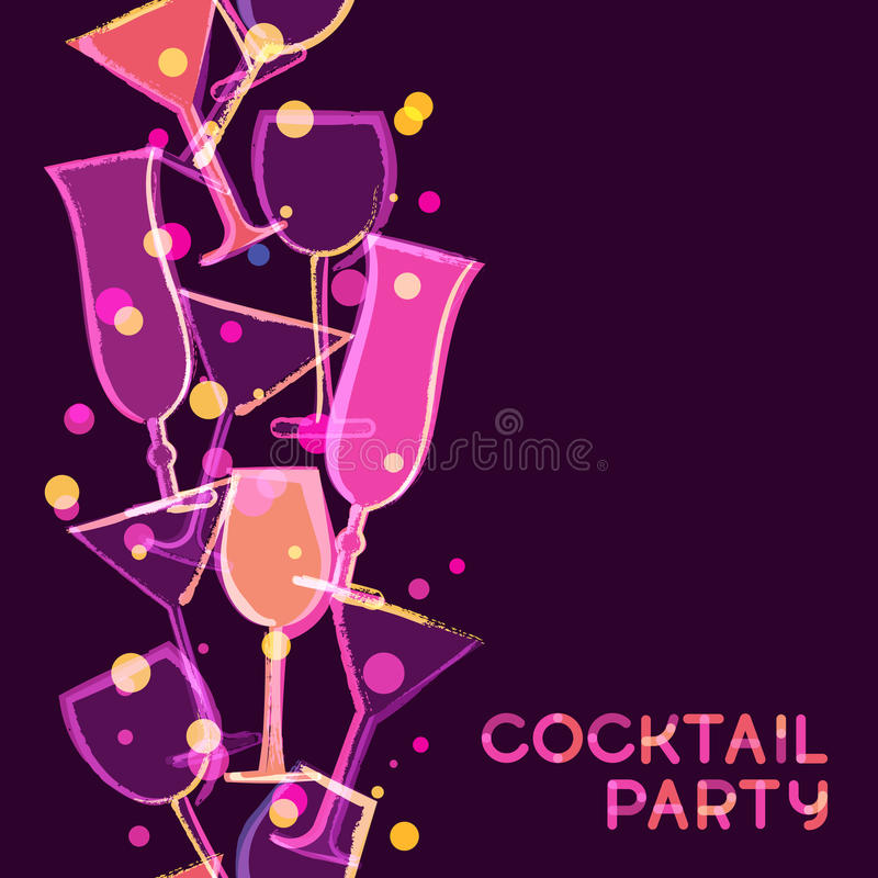 Abstract multicolor glowing cocktail glass. Vector watercolor se royalty free illustration