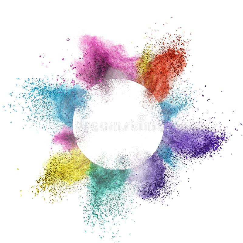 Abstract multicolor powder splatted behind a round frame exploding on white background stock images