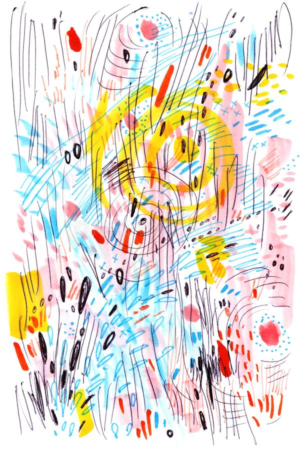 Abstract multicolored background drawn by markers and pens. Sketch made with scribbles, marker, canyon strokes. royalty free illustration