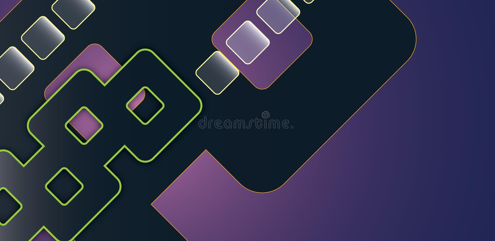Abstract geometric rectangles forms on purple background stock photography