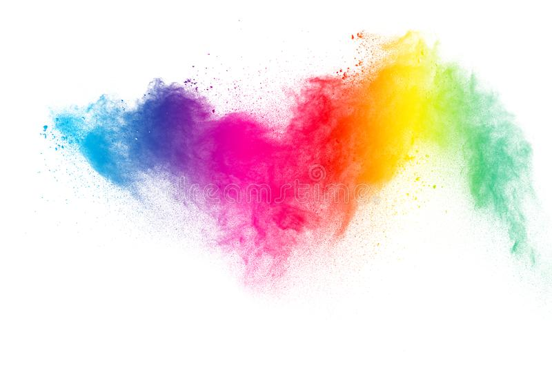 Abstract multicolored dust explosion on white background. royalty free stock photos