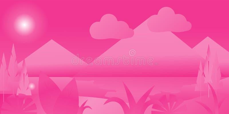 Abstract multicolored fantasiebos met rivier en berg, sprookjebos in vlak ontwerp, mooie vector royalty-vrije illustratie
