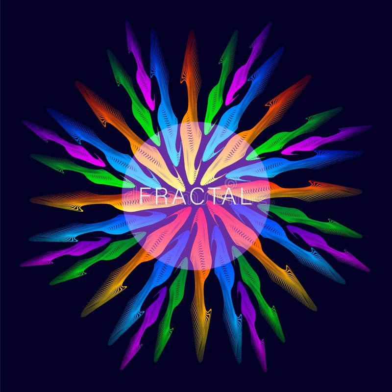 Abstract fractals fire circle. Abstract multicolored gradient fractals fire circle. Vector Illustration vector illustration