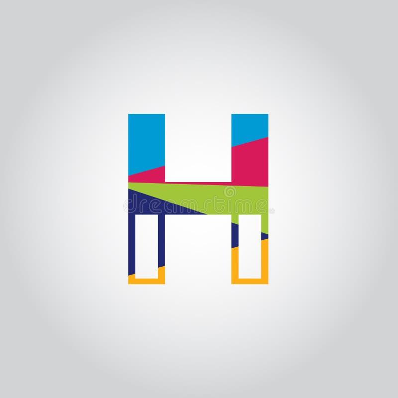 Abstract Multicolored H letter Logo design vector icon stock illustration