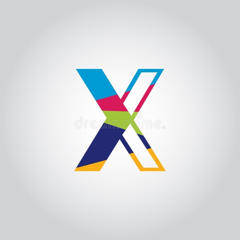 Abstract Multicolored X letter Logo design vector icon stock illustration