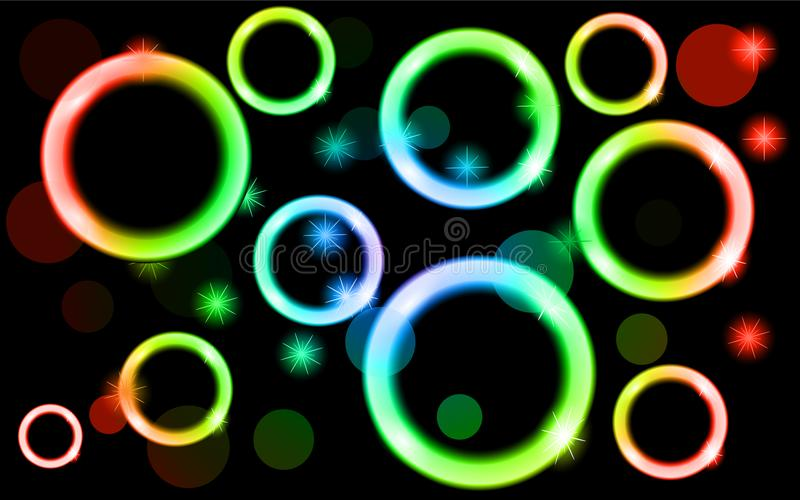 Abstract, multicolored, neon, shiny, bright, glowing circles, balls, bubbles, light spots with stars on a black background. stock illustration