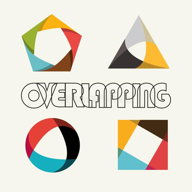 Abstract multicolored overlapping geometric polygon shape logo design marks royalty free illustration