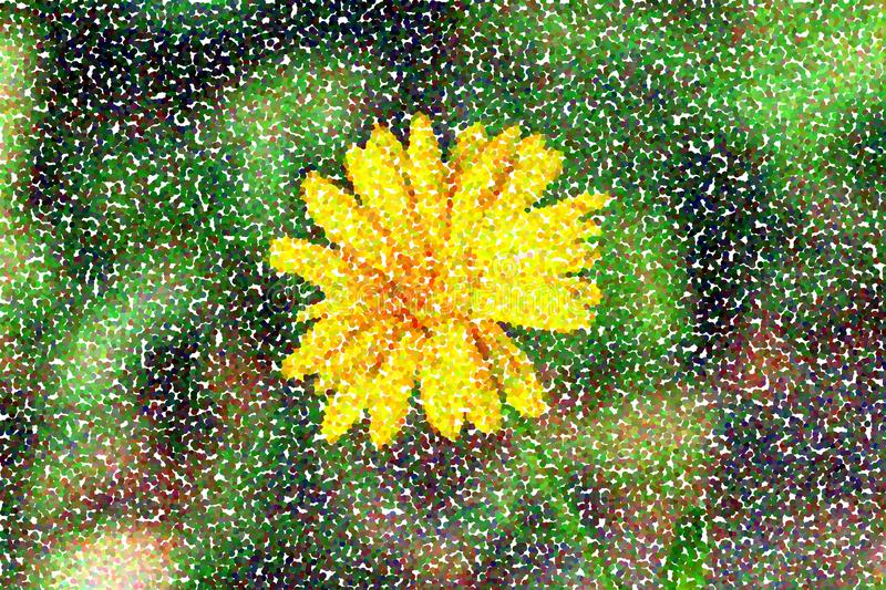 Abstract multicolored pointillist painting - one flower vector illustration