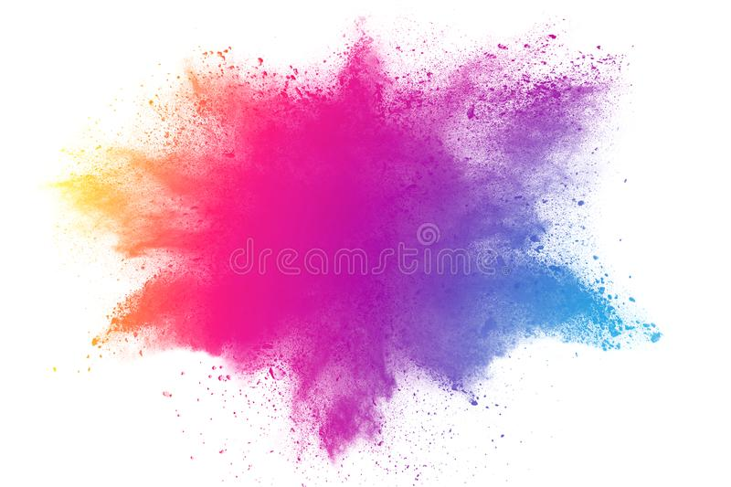 Abstract multicolored powder splatted on white background royalty free stock photo