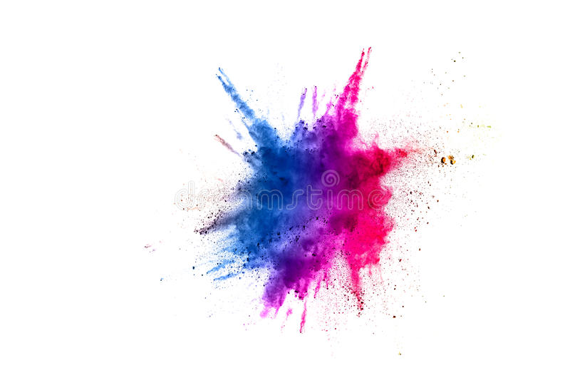 Abstract multicolored powder splatted. On white background, Freeze motion of color powder exploding royalty free stock photos