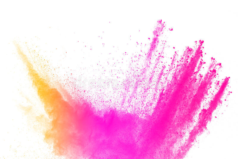 Abstract multicolored powder splatted. On white background,Freeze motion of color powder exploding royalty free stock image