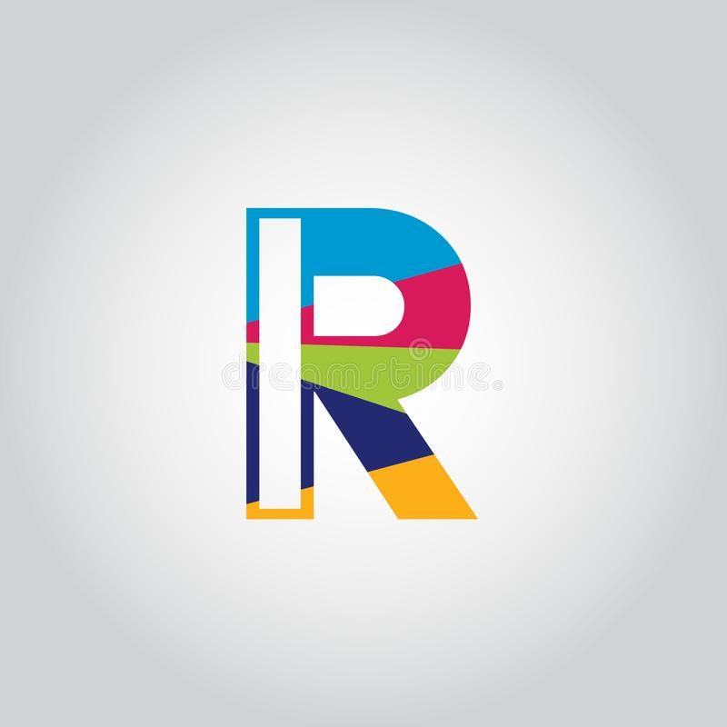 Abstract Multicolored R letter Logo design vector icon stock illustration
