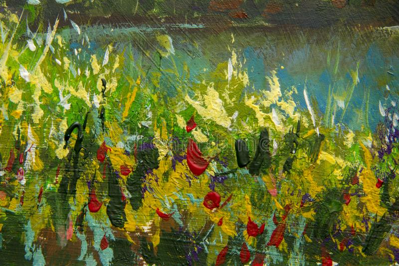 Abstract multicolored summer flowers. Glade of spring flowers. Enlarged Fragment of the picture. Expressionism with acrylic. Natur royalty free illustration