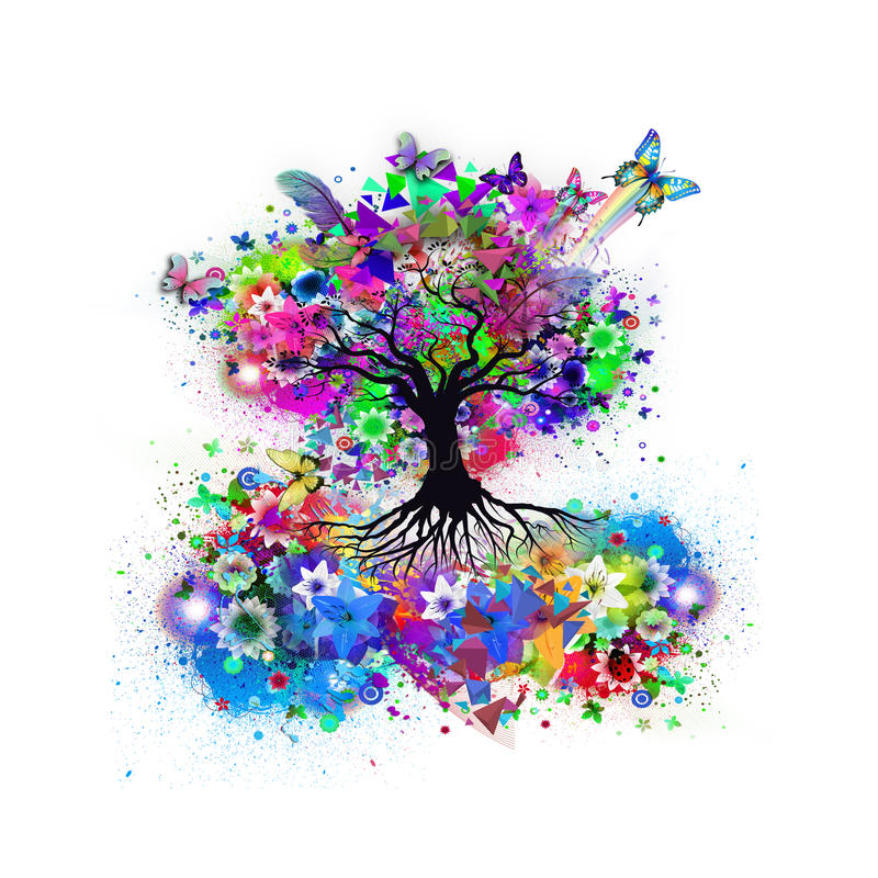 Free Abstract Multicolored Tree Royalty Free Stock Photography - 90018797