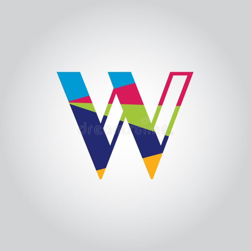 Abstract Multicolored W letter Logo design vector icon stock illustration
