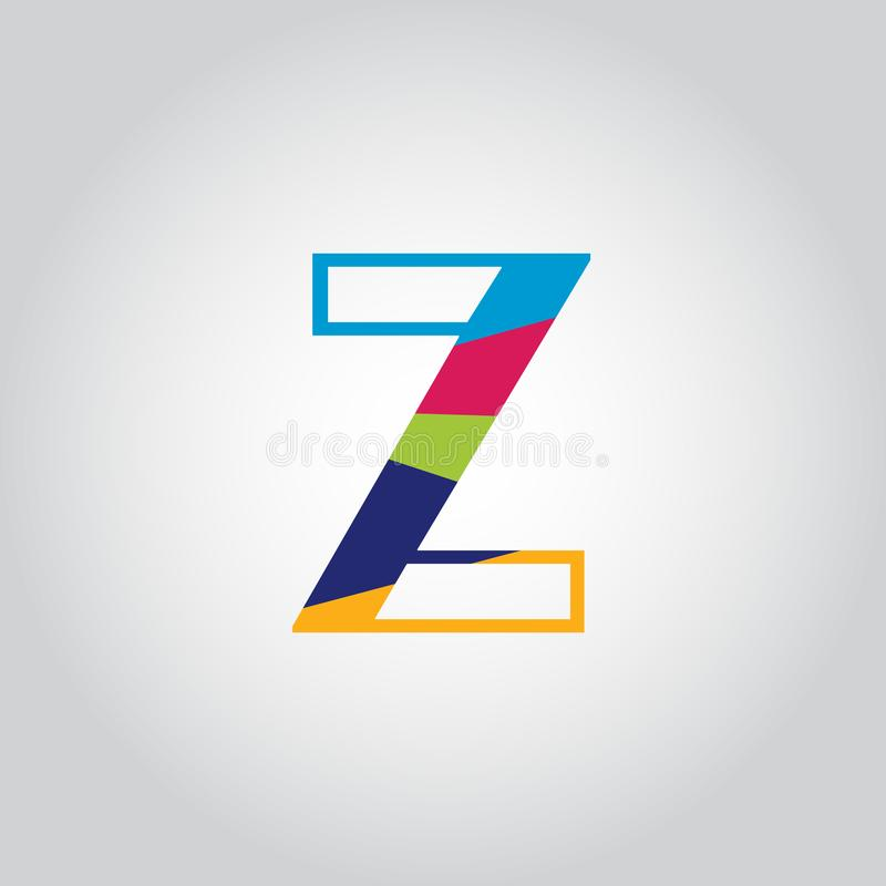 Abstract Multicolored Z letter Logo design vector icon royalty free illustration