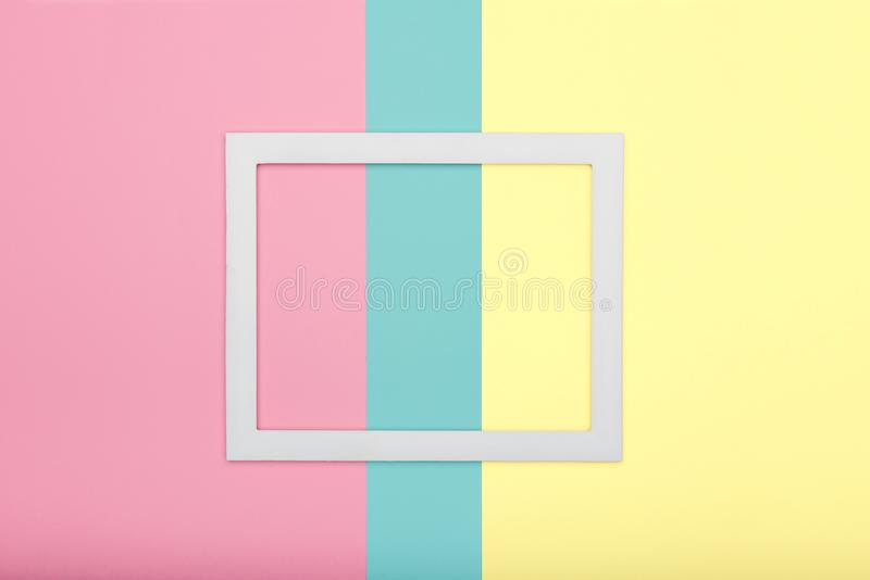 Abstract multicoloured paper texture minimalism background. Minimal geometric shapes and lines composition with picture frame. Abstract multicoloured paper stock photography