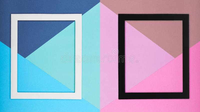 Abstract multicoloured paper texture minimalism background. Minimal geometric shapes and lines composition with picture frame. Abstract multicoloured paper royalty free stock photography