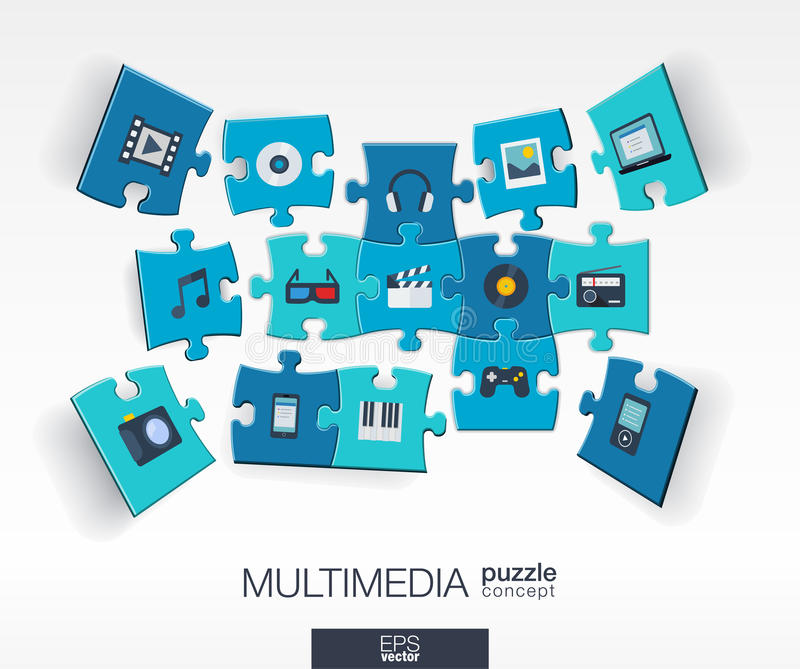 Abstract multimedia background with connected color puzzles, integrated flat icons. 3d infographic concept with technology. Digital, music, film, gaming vector illustration