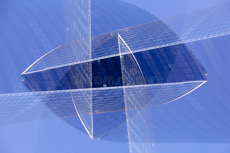 Abstract multiple exposure modern glass and steel futuristic architecture. royalty free stock images