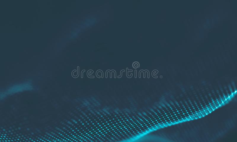 Abstract Music background. Big Data Particle Flow Visualisation. Science infographic futuristic illustration. Sound. Music background. Big Data Particle Flow stock photos