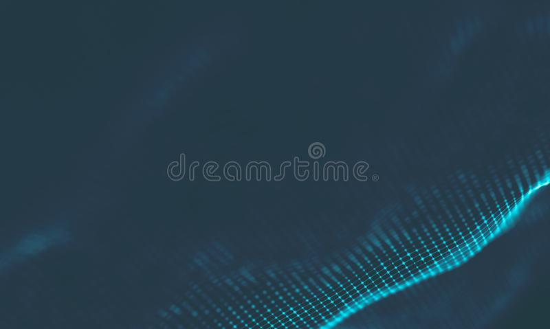 Abstract Music background. Big Data Particle Flow Visualisation. Science infographic futuristic illustration. Sound. Music background. Big Data Particle Flow royalty free stock photography