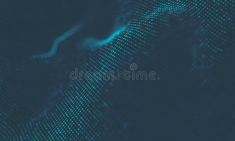 Abstract Music background. Big Data Particle Flow Visualisation. Science infographic futuristic illustration. Sound. Music background. Big Data Particle Flow stock photography