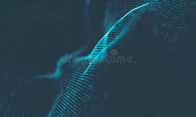 Abstract Music background. Big Data Particle Flow Visualisation. Science infographic futuristic illustration. Sound. Music background. Big Data Particle Flow stock images
