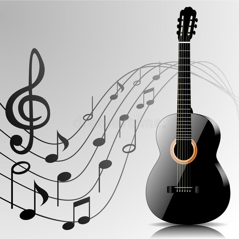 Abstract music background with guitar and notes royalty free illustration