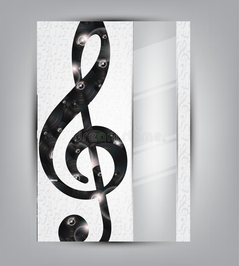 Abstract music background illustration for your design. With vinyl disks under the sol note and space for text royalty free illustration