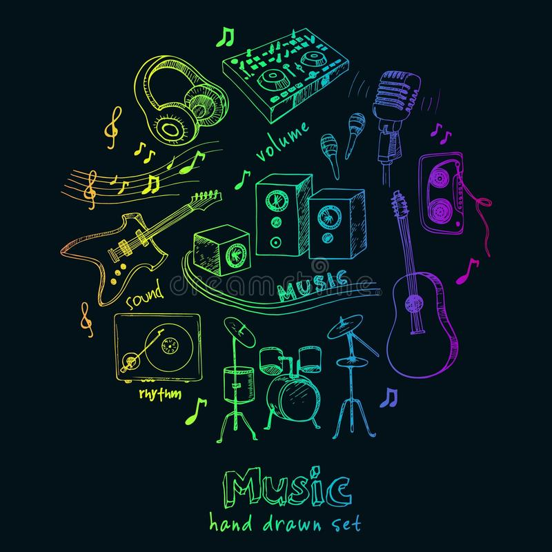 Abstract Music Background with musical instruments. stock illustration