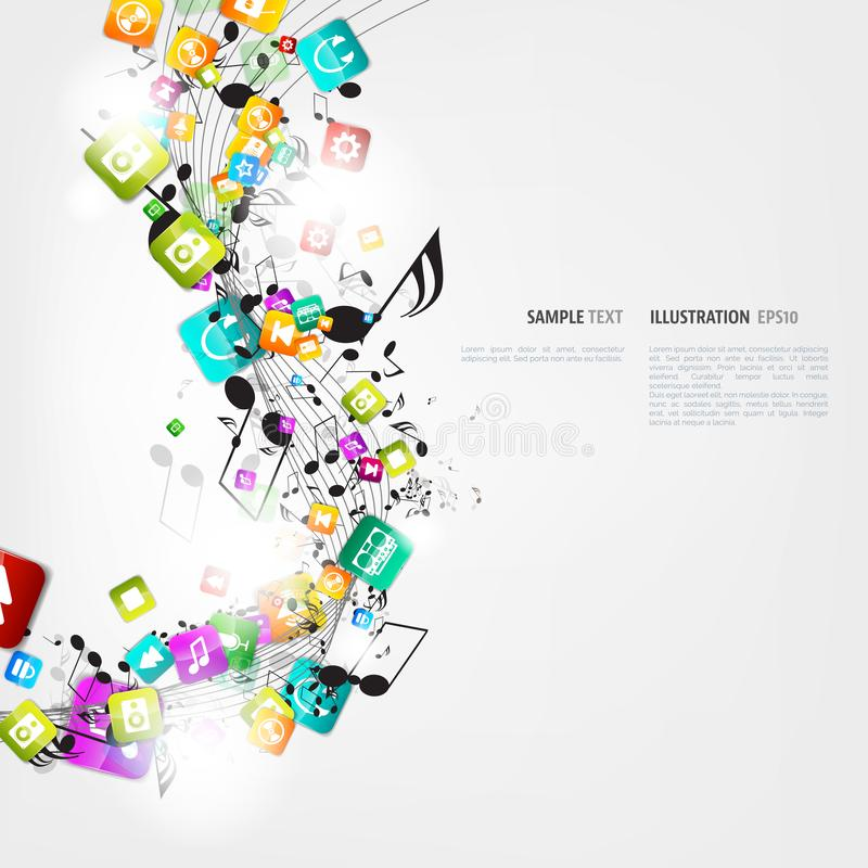 Abstract music background with notes and app icons. vector illustration