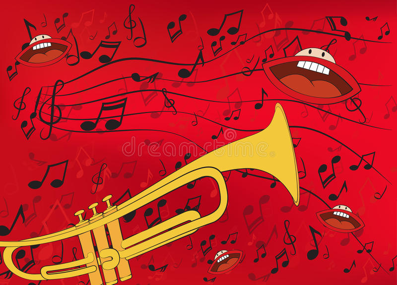 Abstract music background with a trumpet
