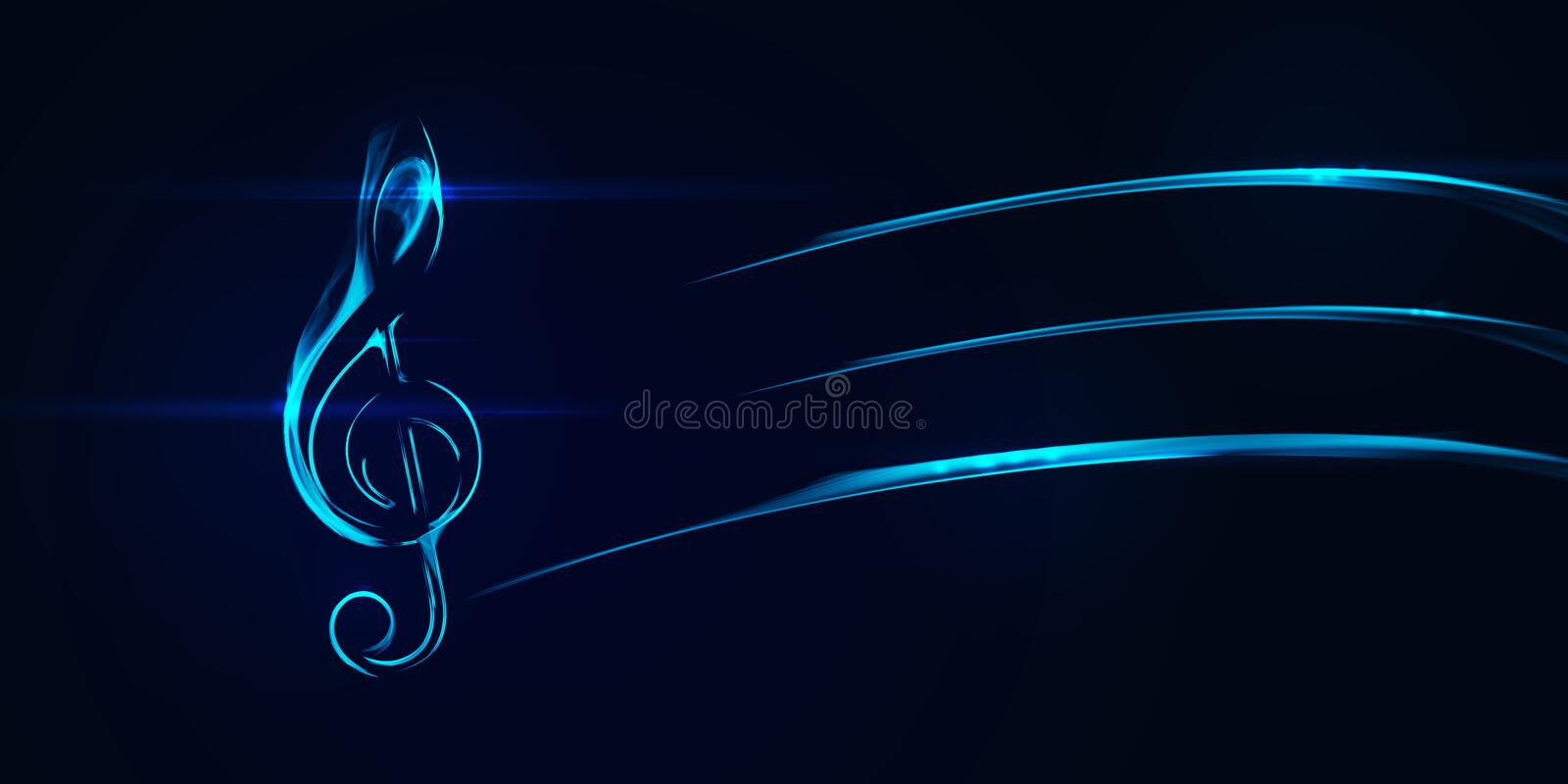 Abstract music clef icon element on black. Composition of glowing lines and motion blur traces. Movement and innovation concept stock illustration