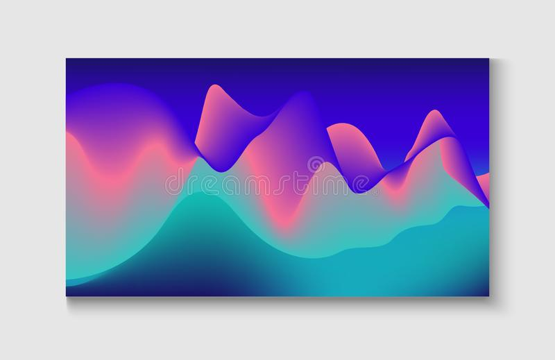 Abstract Music Cover, Equalizer Motion, Liquid Wavy Flyer. Wavy Gradient Vector. Background. Modern Music Sound Wave. Bright Blue, Pink, Purple, Turquoise Fluid stock illustration