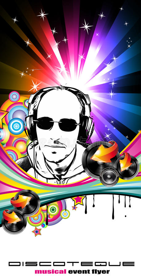 Abstract Music Disco Flyer Background Stock Photo