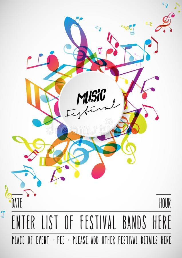 Free Abstract Music Festival Advertising Poster Template With Tunes. Stock Image - 118762261