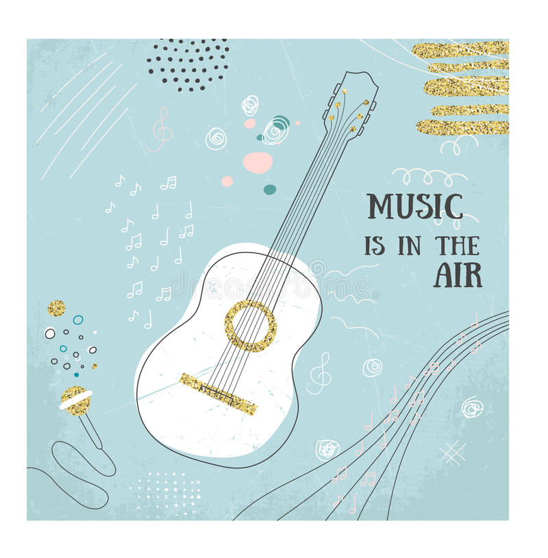 Abstract music guitar hand draw card. Doodle vector illustration. Graphic poster, cover sketch style. Modern cute stock illustration