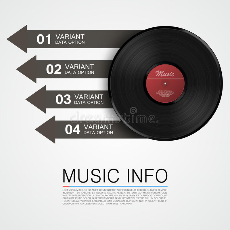 Abstract music info. Vinyl disk. Vector illustration stock illustration