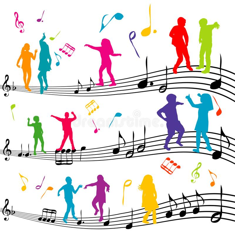 Abstract music note with silhouettes of kids dancing stock illustration