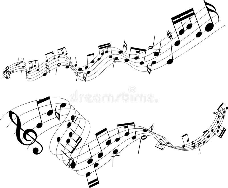 Abstract music notes. Abstract designs of music notes on a white background