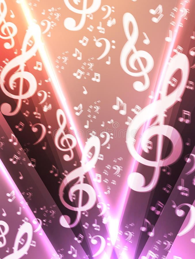 Abstract music notes background stock illustration
