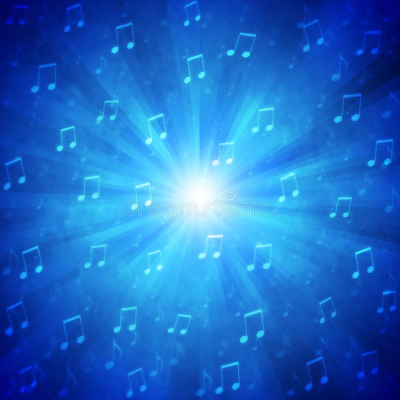 Abstract Music Notes Blast in Blue Grunge Background royalty free stock photos