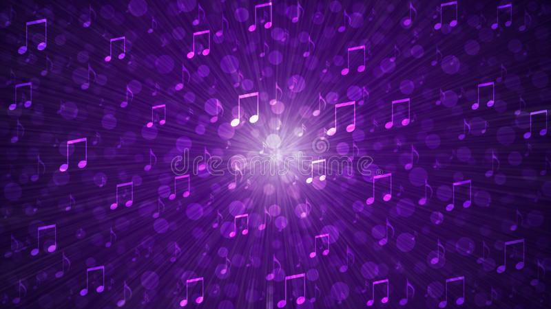 Abstract Music Notes Blast in Blurry Dark Purple Background royalty free stock photo