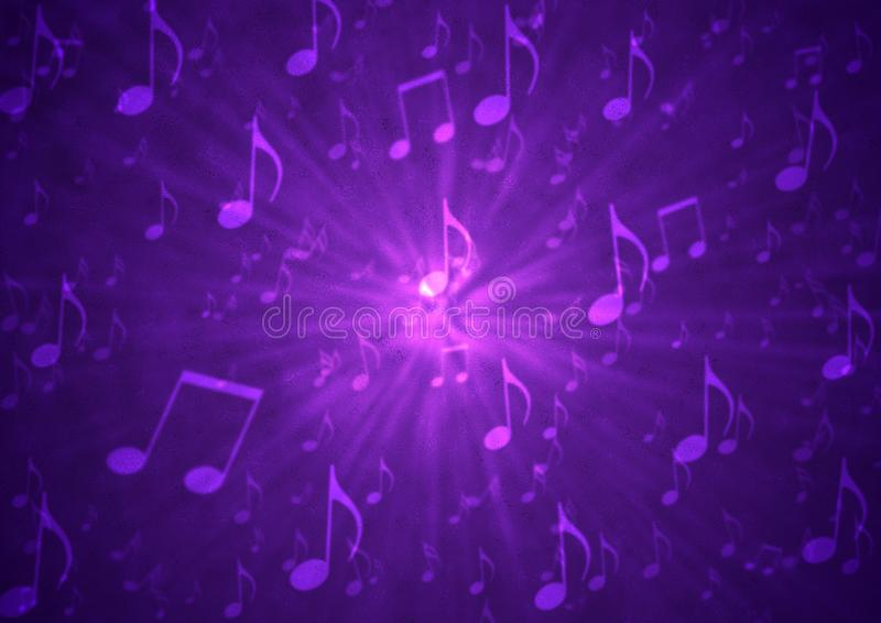 Abstract Music Notes Blast in Blurry Grungy Dark Purple Background royalty free stock photos
