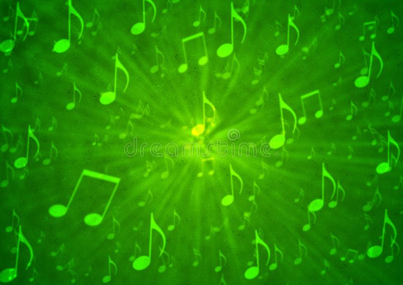 Abstract Music Notes Blast in Blurry Grungy Green Background royalty free stock image