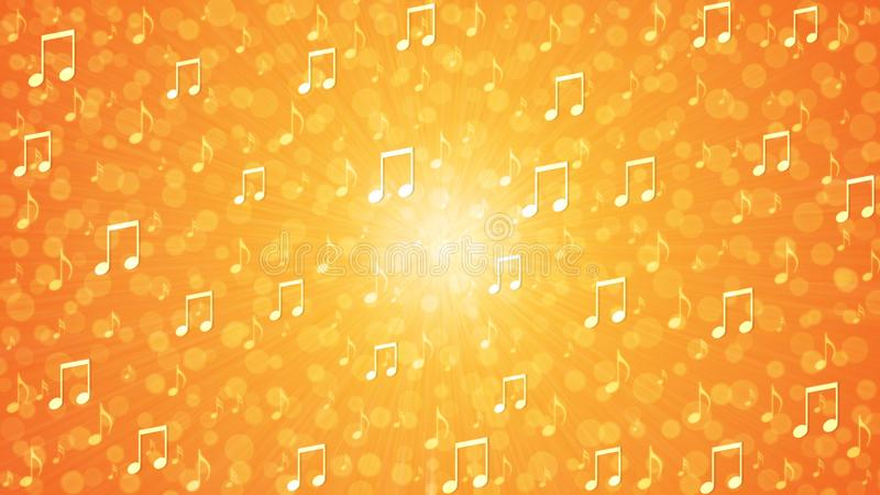 Abstract Music Notes Blast in Orange and Yellow Background stock illustration